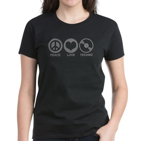 Peace Love Techno Women's Dark T-Shirt
