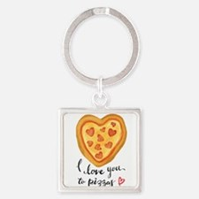 i love you to pizzas Keychains