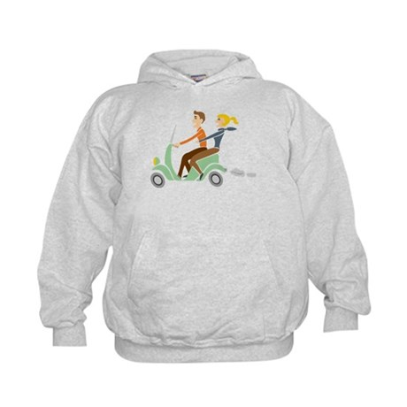 Scooter Retro Couple Kids Hoodie