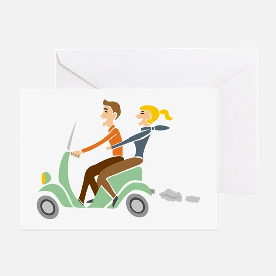 Scooter Retro Couple Greeting Card