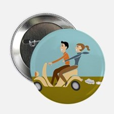 "Scooter Retro Couple 2.25"" Button"