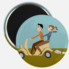 Scooter Retro Couple Magnet