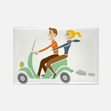 Scooter Retro Couple Rectangle Magnet