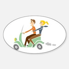 Scooter Retro Couple Oval Decal