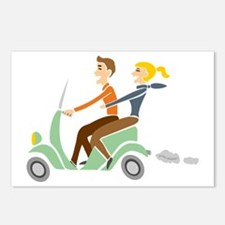 Scooter Retro Couple Postcards (Package of 8)