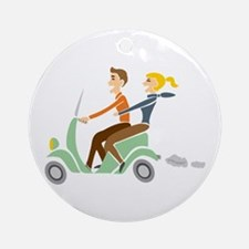 Scooter Retro Couple Ornament (Round)