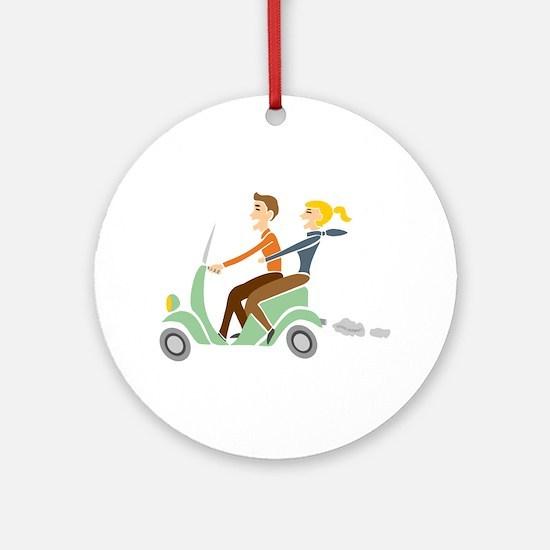 Scooter Retro Couple Ornament (Round)
