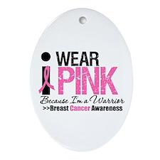 I Wear Pink Warrior Oval Ornament