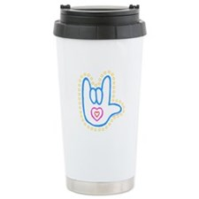 Blue Bold Love Hand Travel Mug