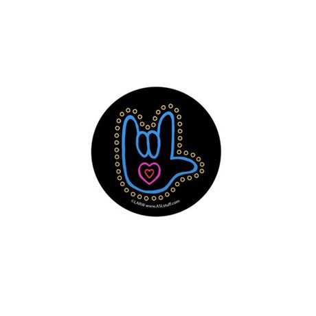Blue Bold Love Hand Black Mini Button