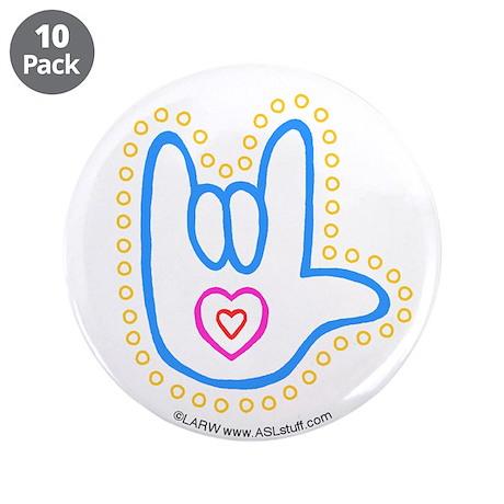 "Blue Bold Love Hand 3.5"" Button (10 pack)"