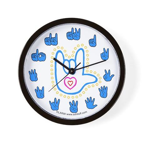 Blue Bold Love Hand Wall Clock