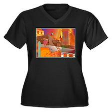 Sexy Prague Women's Plus Size V-Neck Dark T-Shirt