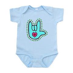 Aqua Bold Love Hand Infant Bodysuit