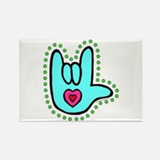 Aqua Bold Love Hand Rectangle Magnet