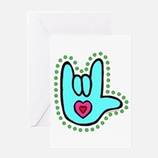 Aqua Bold Love Hand Greeting Card