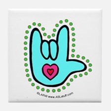 Aqua Bold Love Hand Tile Coaster