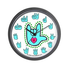 Aqua Bold Love Hand Wall Clock