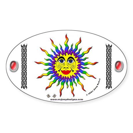 Rainbow Sun - Oval Sticker