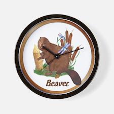 Beaver, Cattails & Dragonflies Wall Clock