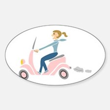 Scooter Girl Oval Decal