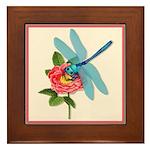 Dragonfly & Wild Rose Framed Tile