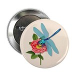 Dragonfly & Wild Rose Button