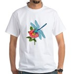 Dragonfly & Wild Rose White T-Shirt