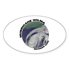 Satellite Hurricane Wilma Oval Decal