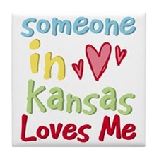Someone in Kansas Loves Me Tile Coaster