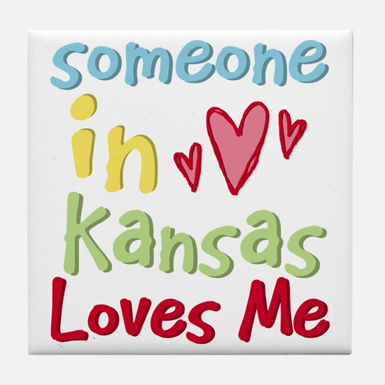 Someone in Kansas Loves Me Tile Coaster