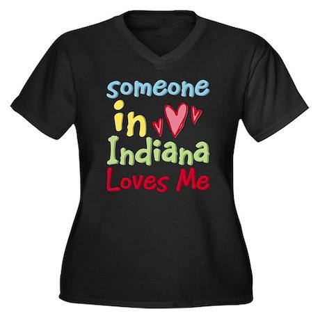 Someone in Indiana Loves Me Women's Plus Size V-Ne