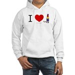 I heart Lipstick Tubes Hooded Sweatshirt
