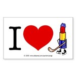 I heart Lipstick Tubes Rectangle Sticker