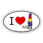 I heart Lipstick Tubes Oval Sticker
