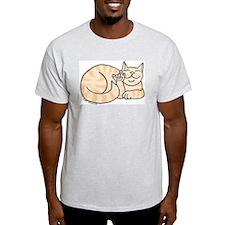 Orange Tabby ASL Kitty Ash Grey T-Shirt