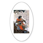 Japanese Samurai Warrior Masanao Oval Sticker