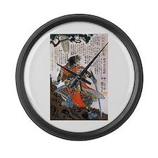 Japanese Samurai Warrior Masanao Large Wall Clock