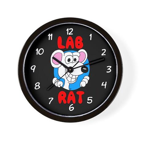 Science Geek Lab Rat Black Wall Clock
