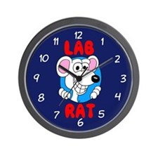 Science Geek Lab Rat Blue Wall Clock
