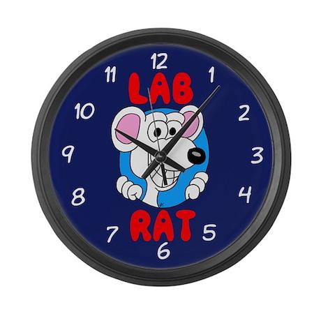 Science Geek Lab Rat Blue Large Wall Clock