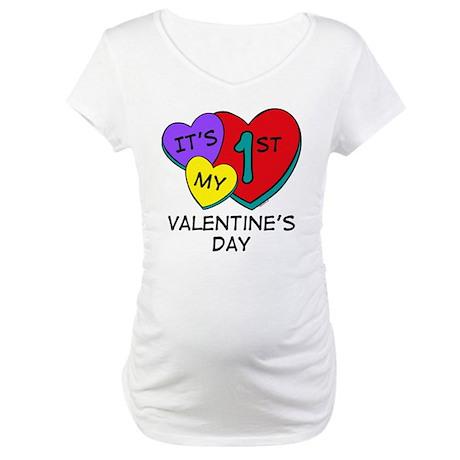 1st Valentine's Day Hearts Maternity T-Shirt