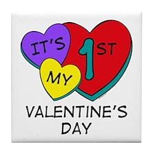 1st Valentine's Day Hearts Tile Coaster