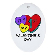 1st Valentine's Day Hearts Oval Ornament