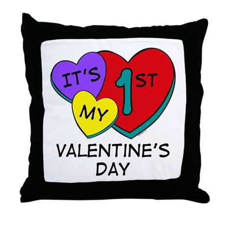 1st Valentine's Day Hearts Throw Pillow