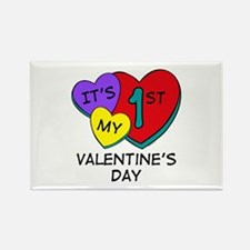 1st Valentine's Day Hearts Rectangle Magnet