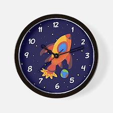 Blast Off Rocket Ship In Space Wall Clock