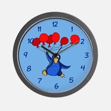 Happy Flying Penguin and Balloons Wall Clock