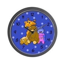 Stuffed Animals Boyish Blue Wall Clock