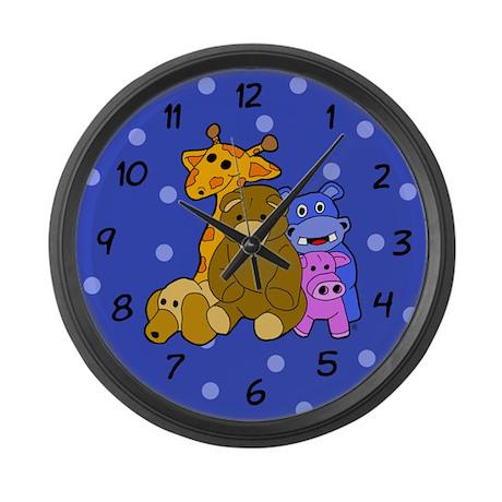 Stuffed Animals Boyish Blue Large Wall Clock